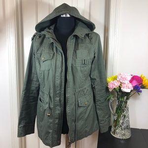 Yoki jacket green safari style 100 cotton hooded